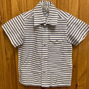 Busy bee white and blue striped shirt